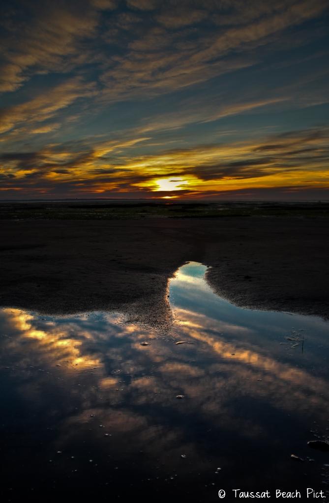 coucher de soleil bassin d'arcachon taussat plage mer ocean