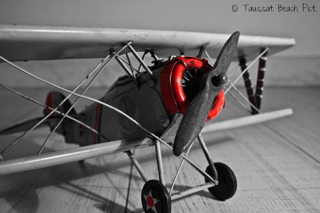 vieille maquette biplan, maquette avion ancienne, photo noir et blanc partiel