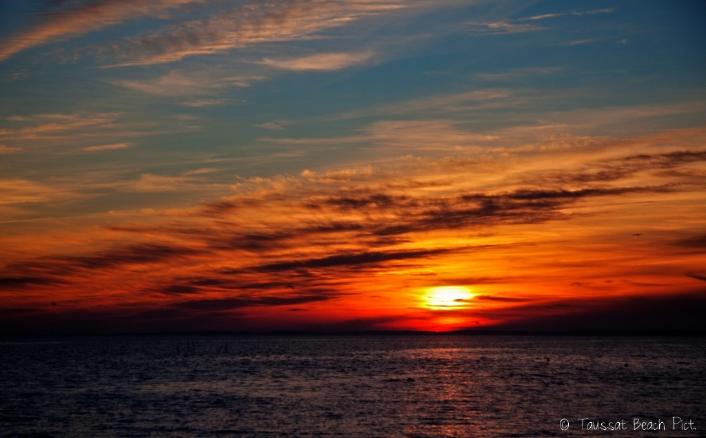 coucher de soleil bassin d'arcachon, coucher de soleil photo hdr, taussat beach