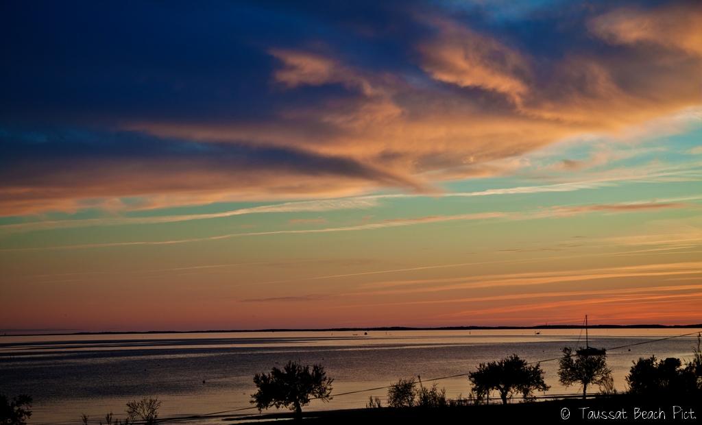 Taussat BEach Pitures, coucher de soleil, plage bassin d'arcachon