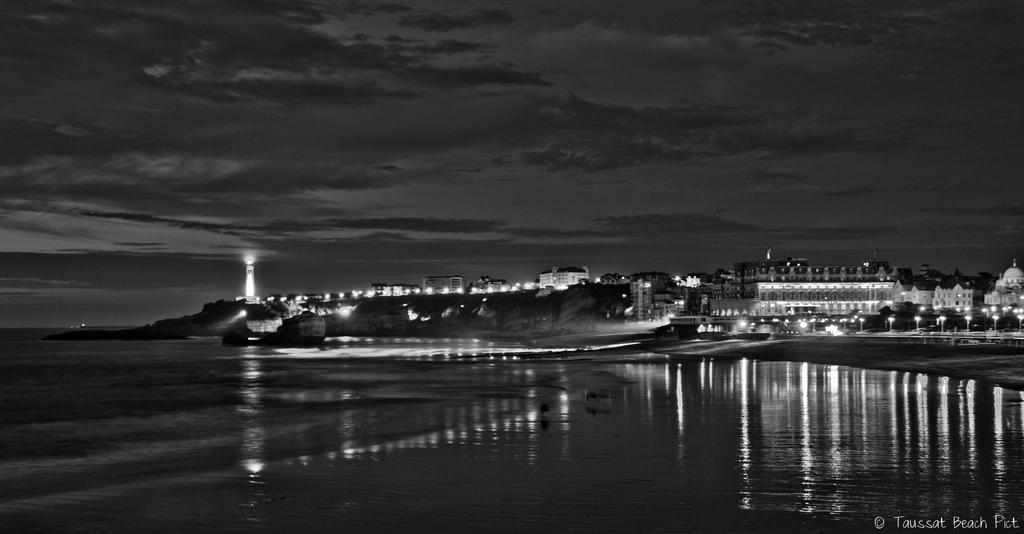 Biarritz, grande plage, photo, nuit, plage, paysage, hotel du palais, phare