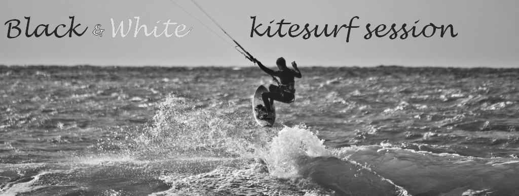 black and white kitesurf session