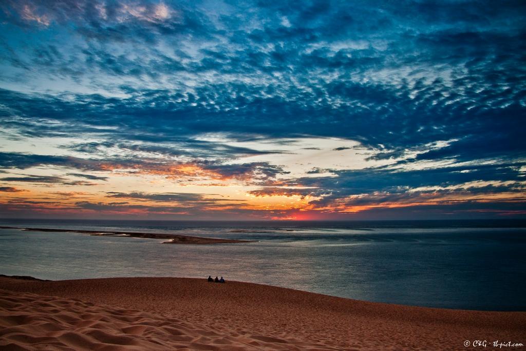 coucher de soleil dune du pyla banc d'arguin