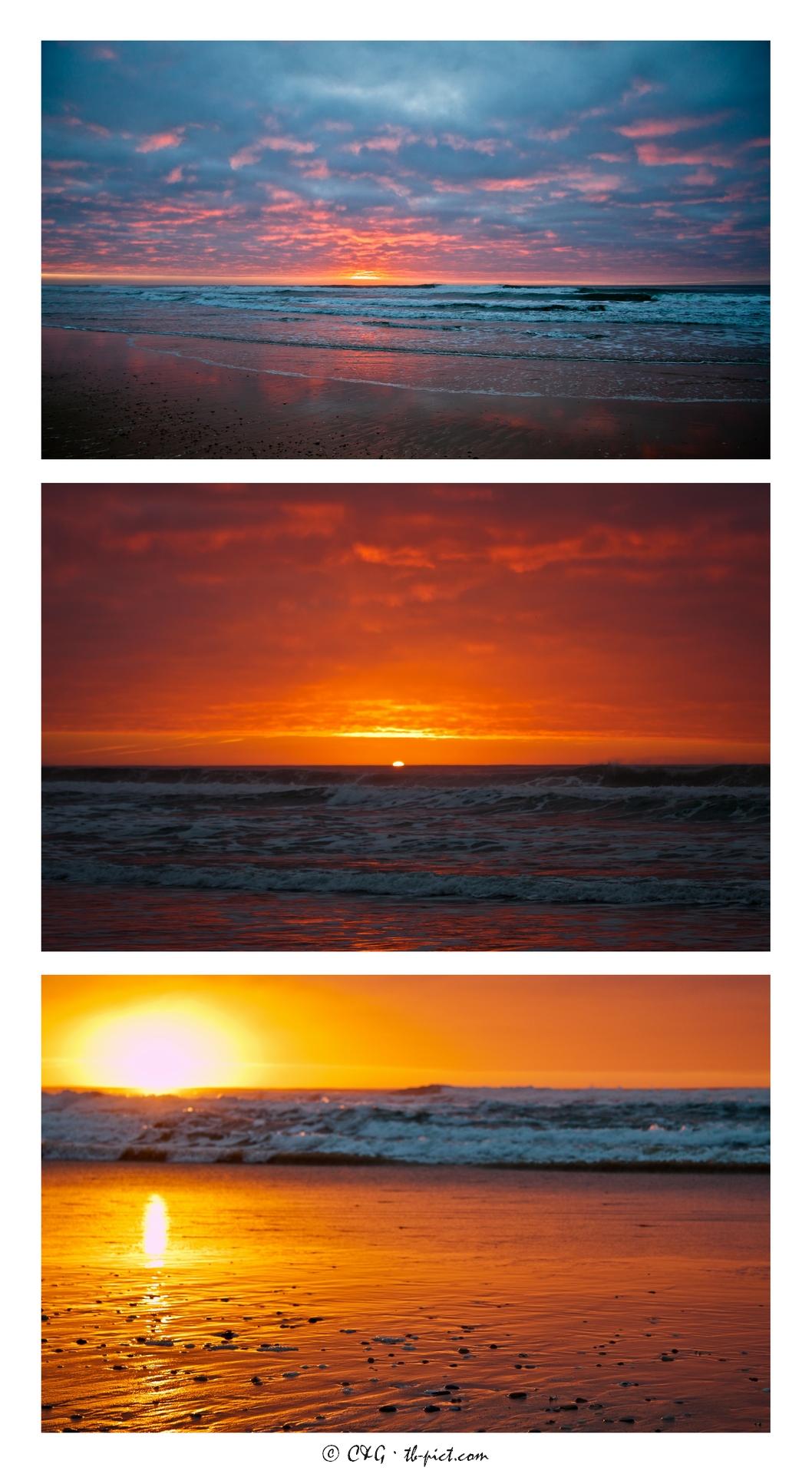 triptyque coucher de soleil à l'océan